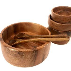 Vintage handcrafted wood serving set